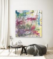 MASTERPIECE  125 x 125 cm Acryl auf Leinwand silberfarbene Elemente