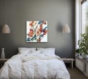 FLORIA  80 x 80 cm Acryl Lackspray Mischtechnik goldfarbene Elemente