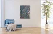 PANDA  60 x 80 cm Acryl Collage Mischtechnik