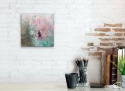 GÄRTNERIN  20 x 20 cm  Acryl Collage Mischtechnik Enkaustik/Wachs