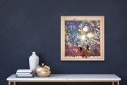 FREUDENSPRUNG  40 x 40 cm  Acryl Drucktechnik silberfarbene Elemente in Holz-Rahmen